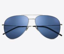 Sonnenbrille CLASSIC 11 aus silberfarbenem Metall mit blauen Gläsern