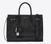 klassische, weiche baby sac de jour-tasche aus schwarzem leder mit krokodillederprägung