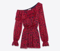 minikleid aus schwarzem seidengeorgette mit asymmetrischer rüsche und rotem mohnprint