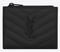 Monogram Zippered Card Case In Grain De Poudre Embossed Leather Schwarz