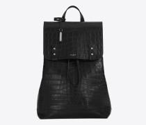 weicher sac de jour-rucksack aus schwarzem leder mit krokodillederprägung
