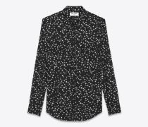Klassisches Westernhemd aus schwarzer Baumwolle mit Sternen in Stone-Waschung