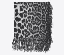 großer, quadratischer schal aus schwarzem und graphitgrauem wolltuch mit leopardenprint