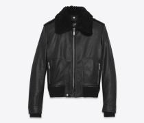 Auto-Jacke aus schwarzem Leder und Lammfell