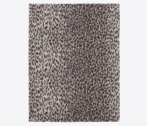 klassische stola aus perlgrauem und schwarzem kaschmir und seidenetamin mit babycat-print