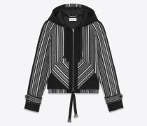 baja jacke aus schwarzer wolle und baumwolle mit peruanischem motiv