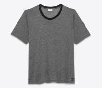 t-shirt mit kurzen ärmeln mit schwarzen und grau melierten mikrostreifen
