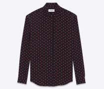 Klassische Bluse aus schwarzem und rotem Seidencrêpe mit Mikro-Herz- und Blitzprint