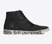 joe halbhoher Sneaker aus schwarzem, abgenutztem Moroder-Leder