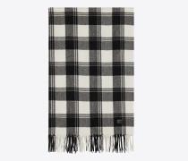 Schal aus schwarzem und elfenbeinfarbenem Woll- und Kaschmirkarojacquard