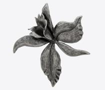 Orchideen-Brosche aus Metall Silber