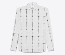 langärmeliges hemd in schwarz-weiß mit yves-kragen und tie-dye-motiv