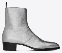 signature wyatt 40 stiefel aus silbernem metallic-leder mit reißverschluss