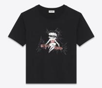Boyfriend-T-Shirt aus bedruckter, schwarzer Baumwolle mit roter und elfenbeinfarbener Betty Boop-Stickerei.