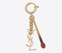 YSL- und Match-Schlüsselring aus hellbronzefarbenem Metall