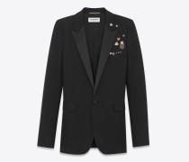Kultiges LE SMOKING Einreiher-Jackett aus schwarzem Gabardine mit Pins