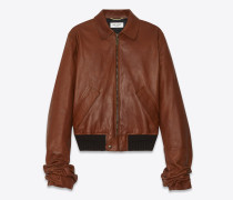 Jacke aus cognacfarbenem Vintage-Leder mit gerafften Oversize-Ärmeln