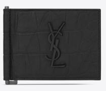 Monogram Saint Laurent Portemonnaie aus schwarzem Leder mit Krokodillederprägung mit Geldscheinclip