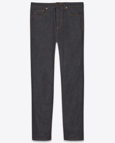 Straight-Cut-Jeans mit Aufschlag aus grobem indigofarbenem Denim