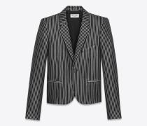 Einreiher-Club-Jacke aus schwarzer und silberfarbener Metallic-Wolle und Acryl