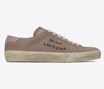 court sl/06 sneakers aus velours mit saint laurent pinkem antikisiertem leder