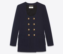 Lange Jacke mit -Ausschnitt aus Wolljersey Blau