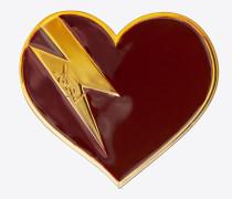 Herz- und Blitzbrosche aus goldfarbenem Messing und burgunderrotem und orangefarbenem Email