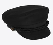 Schirmmütze aus Wollfilz Leder Schwarz