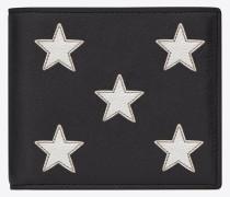 rider california east/west-portemonnaie aus schwarzem leder und silberfarbenem narbenleder mit metallic-optik und reißverschluss