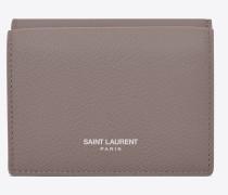 Petite Saint Laurent Paris Portemonnaie aus nebelgrauem Narbenleder