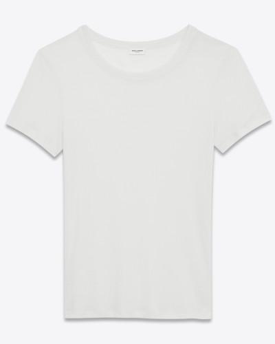 Eng anliegendes T-Shirt aus gebrochen weißem Viskosevoilejersey