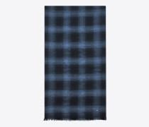 signature knitterschal aus schwarzem und blauem flanell aus wolle, kaschmir und seide mit karojacquard