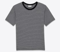 punk rock kurzarm-t-shirt aus schwarzem und grau meliertem baumwolljersey mit pasadena-streifenprint