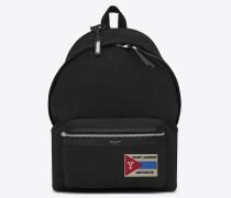 City Rucksack aus schwarzem Twill und Leder mit Patch an der Tasche