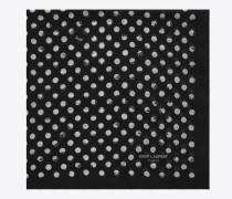 pois schal aus wolle mit schwarz-weißem tupfenprint