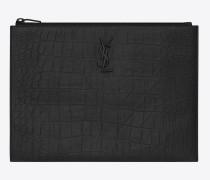 monogram tablet-etui aus schwarzem leder mit krokodilprägung mit reißverschluss