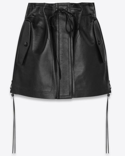minirock mit kordelzug aus schwarzem vintage-lammleder