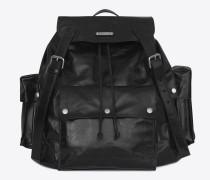 note saint laurent rucksack aus schwarzem vintage-glanzleder