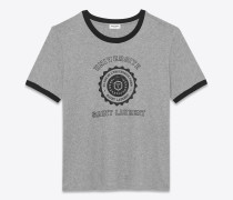 grau meliertes saint laurent université t-shirt mit kurzen ärmeln