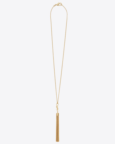 monogram halskette mit mini-quaste in gold