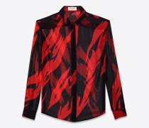 Klassische Bluse aus schwarzem und rotem Seidencrêpe mit Flammenprint