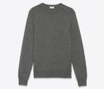 klassischer saint laurent pullover mit rundhalsausschnitt aus grauem kaschmir