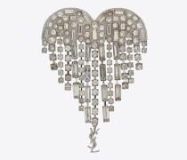SMOKING Amor-Herz-Brosche aus Messing und weißen Kristallen