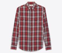 westernhemd aus baumwolle mit rot-weißem karomuster
