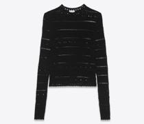 Gehäkelter Pullover aus Baumwolle Schwarz