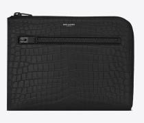 Saint Laurent Paris Tablet-Etui aus schwarzem Leder mit Krokodilledereffekt und mehreren Reißverschlüssen