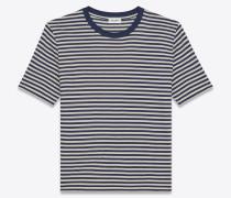 Kurzärmeliges Matrosen-T-Shirt aus elfenbeinfarbenem und marineblauem Baumwolljersey