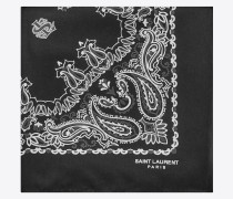 bandana square scarf in black and white paisley printed silk