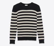 pullover aus schwarzer und elfenbeinfarbener gestreifter kaschmirwolle.