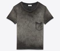 klassisches t-shirt mit rundhalsausschnitt aus grauem garment-dyed baumwolljersey